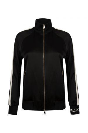 Moncler Women's Striped Sleeve Track Jacket Black