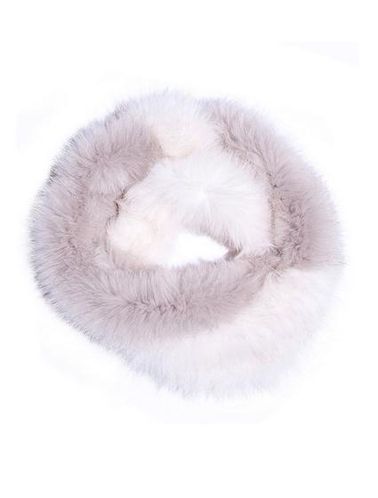 Mila Furs Acacia Infinity Ladies Scarf White and Grey
