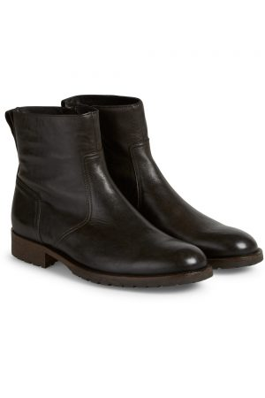 Belstaff Men's Attwell Short Leather Biker Boots Black