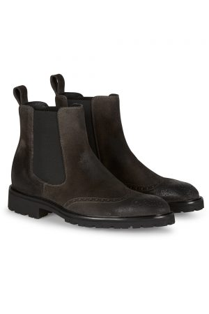 Belstaff Men's Lancaster Short Suede Biker Boots Dark Grey