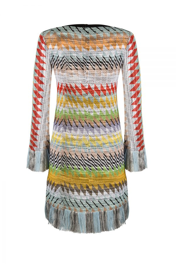 Missoni Women's Fringed Shift Dress Multicoloured