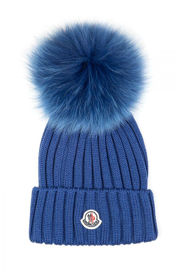 Moncler Women's Pom-pom Beanie Hat Blue