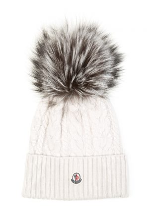 Moncler Women's Cable Knit Beanie Hat Cream
