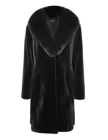 Mila Furs Jamelle Ladies Mink & Fox Fur Coat Black
