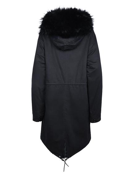 Mila Furs Jenny Ladies Fox Fur Parka Black