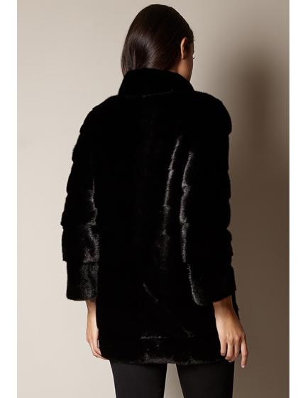 Mila Furs Mila Ladies Midi Mink Fur Coat Black