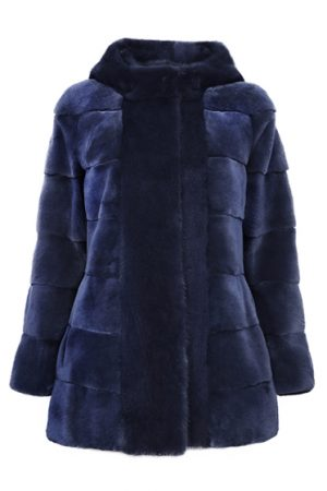 Mila Furs Sophie Ladies Hooded Mink Fur Coat Blue