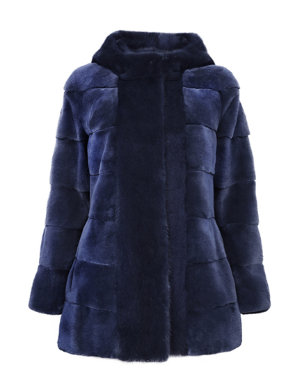 Mila Furs Sophie Ladies Hooded Mink Fur Coat Blue
