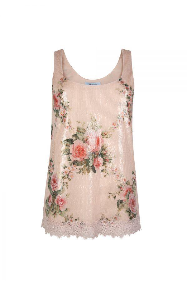Blumarine Women's Floral Sequin Embellished Top Pink