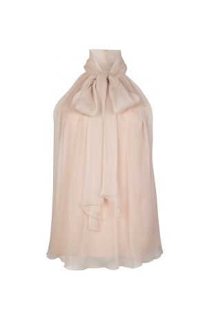 Blumarine Women's Pussy-bow Silk Chiffon Top Pink