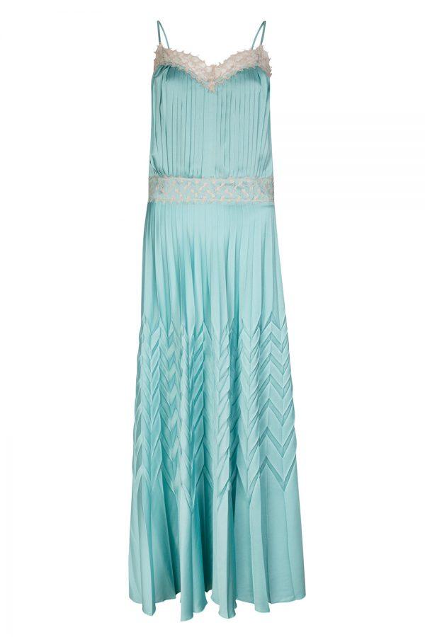 Blumarine Women's Pleated Satin Maxi Dress Blue