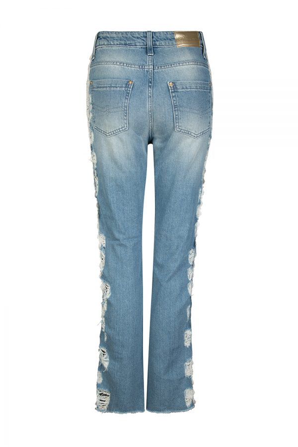 Blumarine Women's Lace Embellished Distressed Jeans Blue