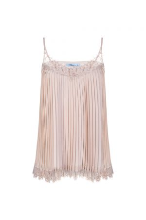 Blumarine Women's Pleated Satin Top Pink