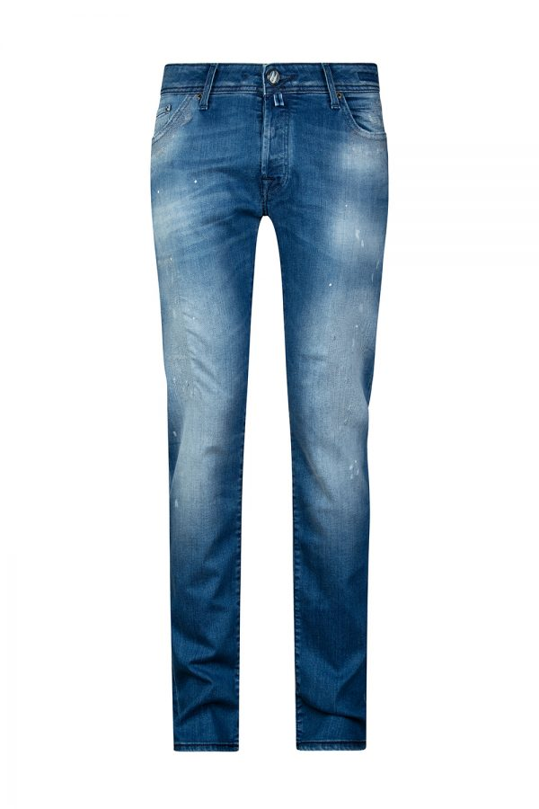 Jacob Cohën J622 Men's Distressed Slim-leg Jeans Blue