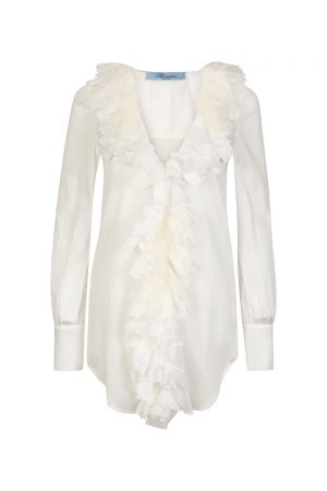 Blumarine Women's Ruffle Trim Shirt White