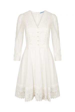 Blumarine Women's Lace Trim Flare Dress White