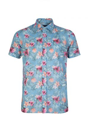 Sand Men's Tropical Print Shirt Blue