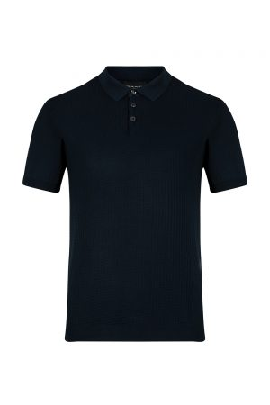 Sand Men's Geometric Panel Polo Shirt Dark Blue