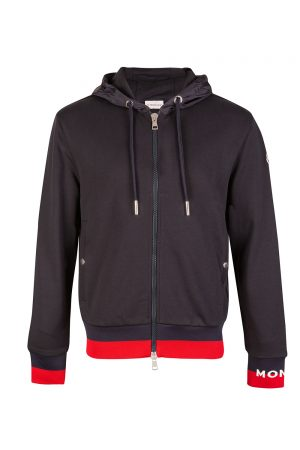 Moncler Men's Striped Trim Zip Up Hoodie Navy