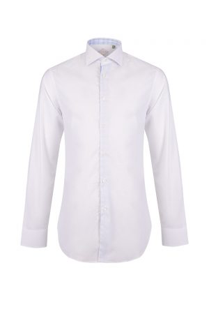 Pal Zileri Men's Contrast Inner Long-sleeved Shirt White