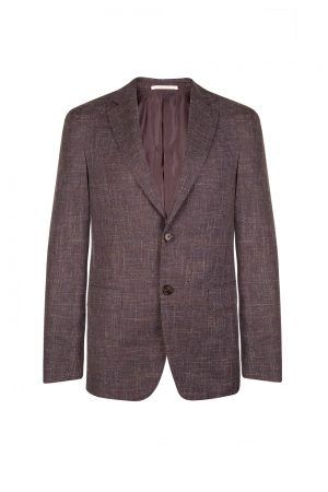 Pal Zileri Men's Linen-blend Wool Blazer Jacket Purple