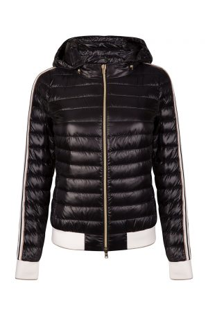 Herno Women's Striped Sleeve Puffer Jacket Black