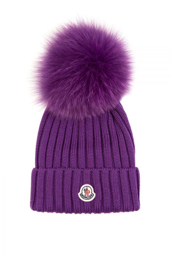 Moncler Women's Pom-pom Beanie Hat Purple