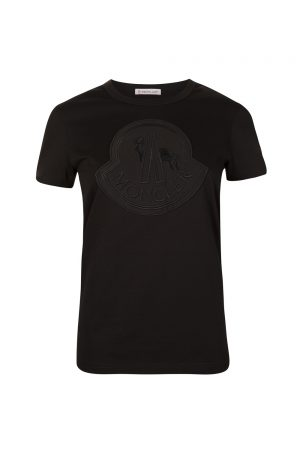 Moncler Women's Embroidered Logo T-shirt Black