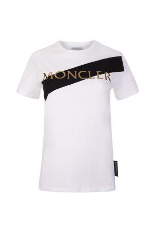 Moncler Women's Logo Print T-shirt White