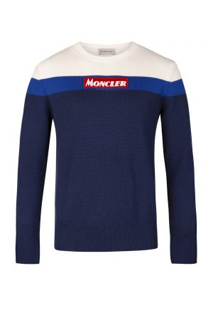 Moncler Men's Logo Appliqué Sweater Blue