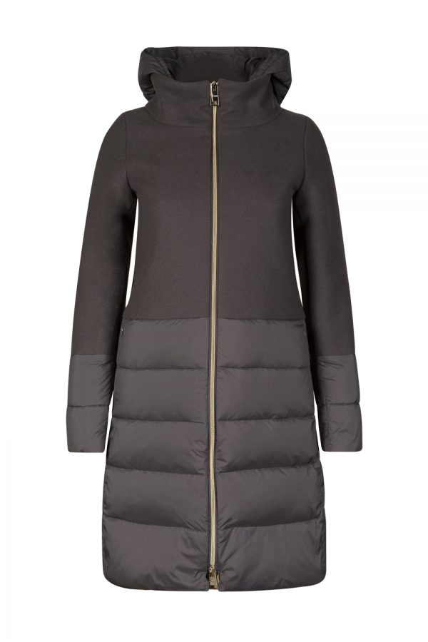 Herno Women's Contrast Quilted Panel Coat Grey