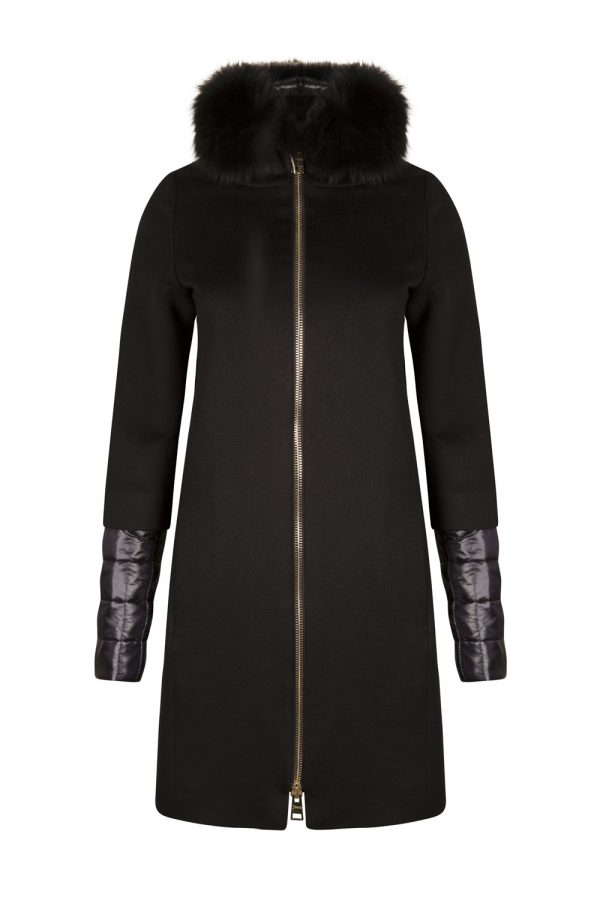 Herno Women's Fox Fur Trim Cashmere Coat Black