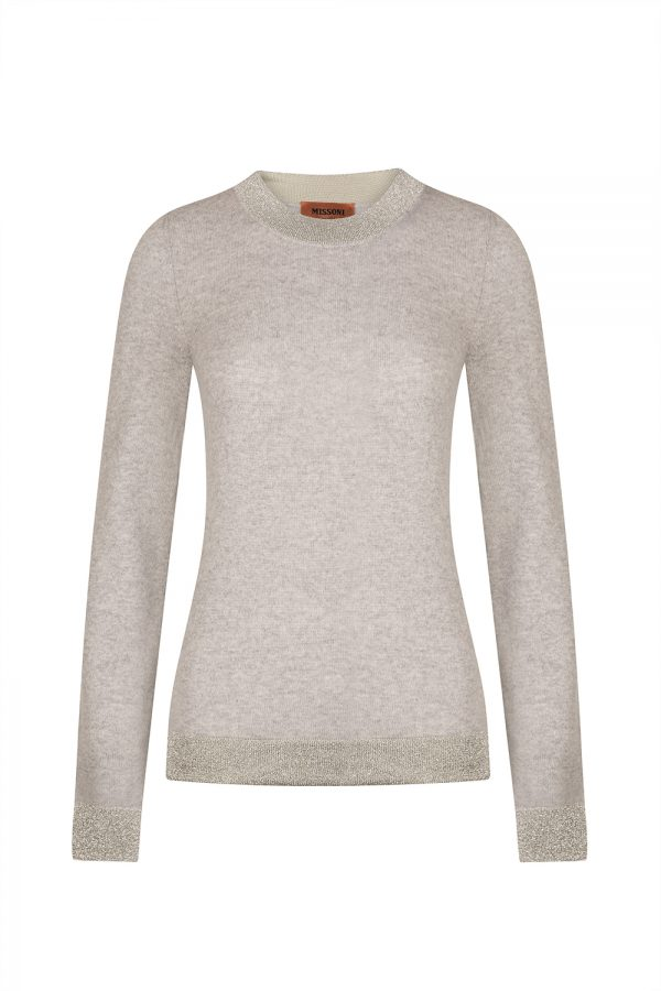 Missoni Women's Contrast Lamé Panel Sweater Grey