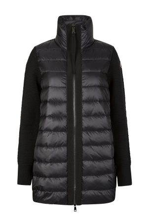 Moncler Women's Quilted Panel Wool Cardigan Black