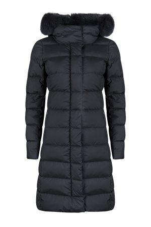 Herno Women's Polartech Fur Collar Down Coat Navy