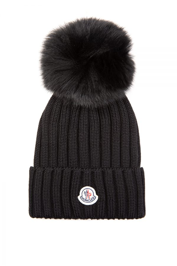 Moncler Women's Fox Fur Pom-pom Beanie Black