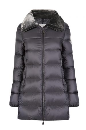 Moncler Torcon Women's Velvet Collar Quilted Coat Grey