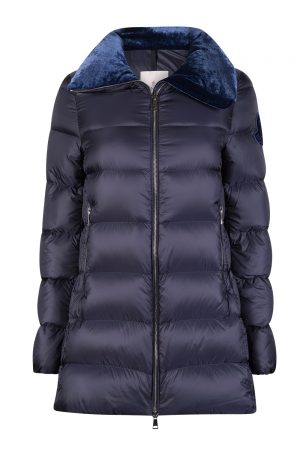 Moncler Torcon Women's Velvet Collar Down Coat Blue