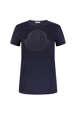 Moncler Women's Logo Motif T-shirt Navy