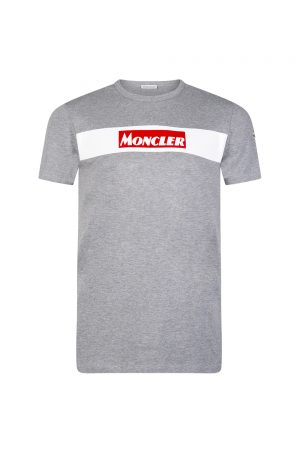 Moncler Men's Logo Print T-shirt Grey