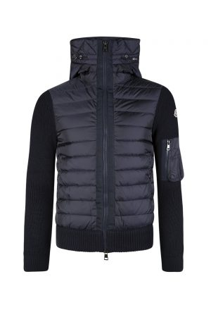 Moncler Men's Quilted Front Wool Cardigan Navy