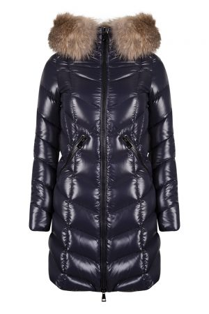 Moncler Fulmarus Women's Chevron Quilted Down Coat Navy
