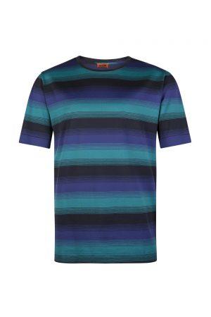 Missoni Thinstripe Men's Patterned Cotton T-shirt Blue