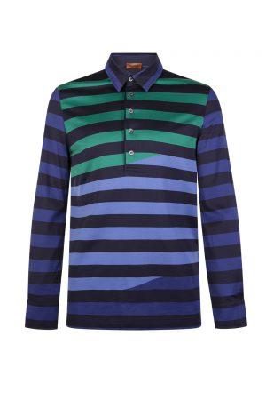 Missoni Men's Striped Cotton Polo Shirt Blue