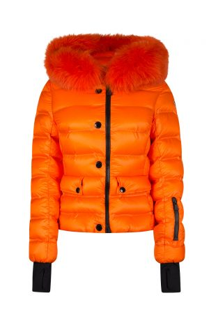 Moncler Grenoble Armotech Women's Fur-trimmed Jacket Orange