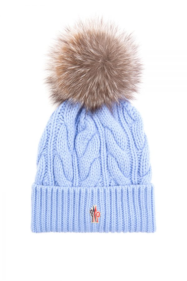 Moncler Women's Cable Fur Beanie Hat Blue
