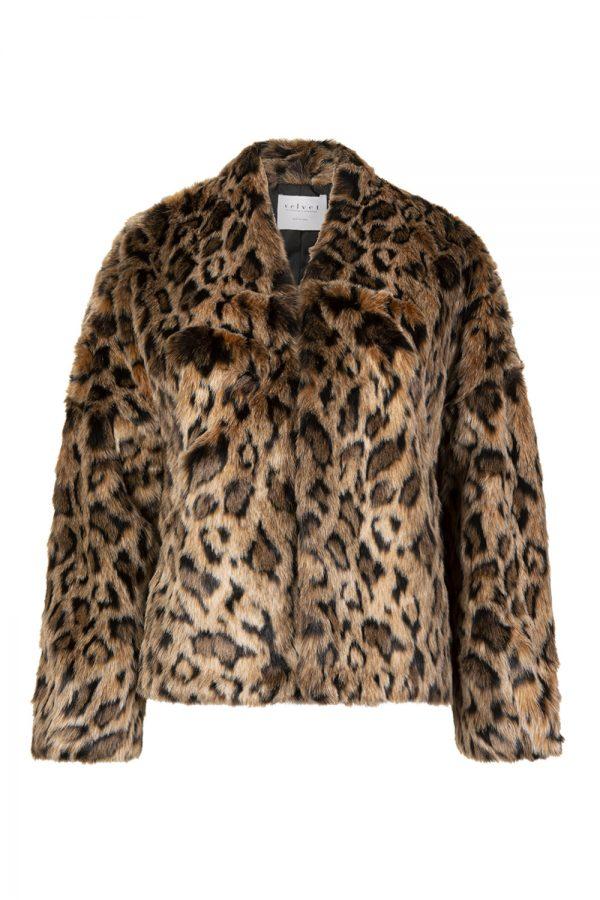Velvet Women's Anne Lux Fur Jacket Leopard