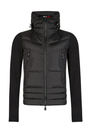 Moncler Men's Quilted Front Cardigan Black