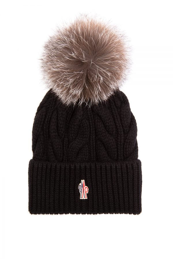 Moncler Women's Cable Fur Beanie Hat Black