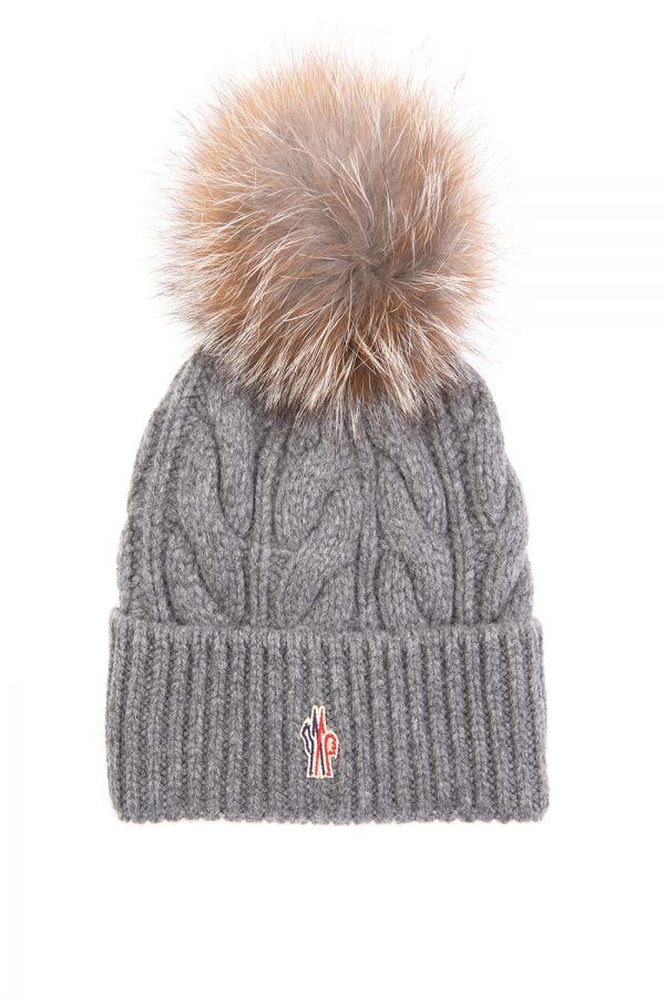 Moncler Women's Cable Fur Beanie Hat Grey